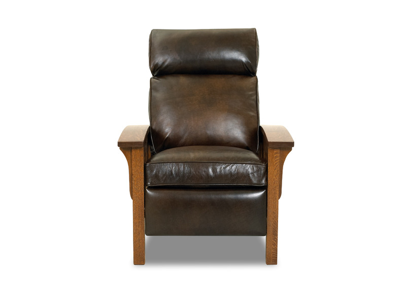 Mission High Leg Reclining Chair CL712 In Chesterfield Whiskey Leather
