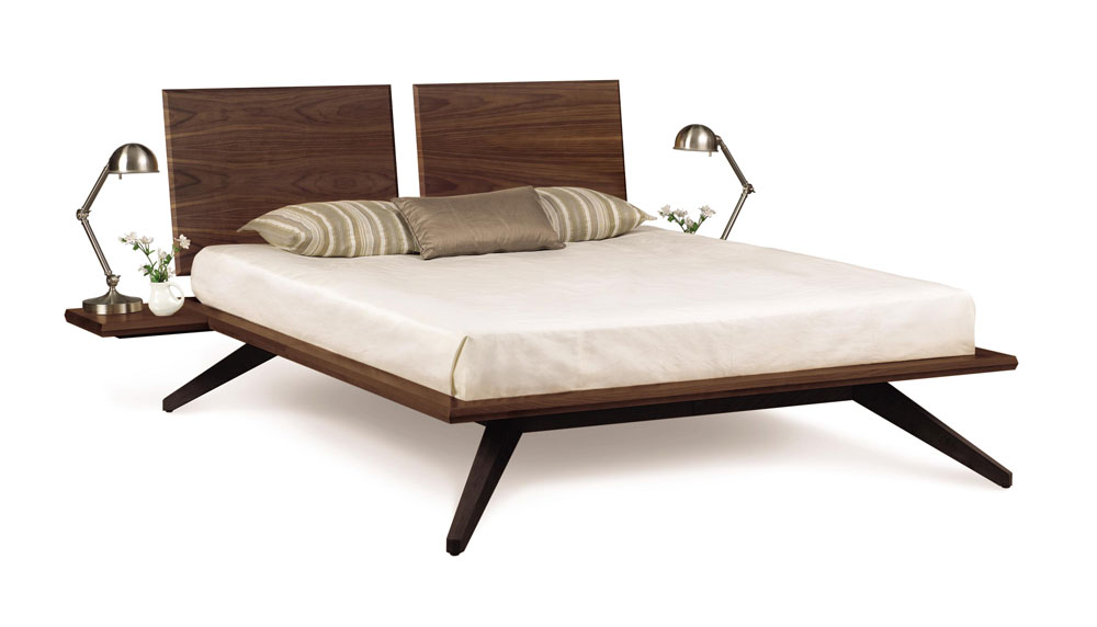 Copeland Astrid Bed with 2 Headboard Panels in Walnut and Optional Nightstand Shelf (additional charge for shelf)