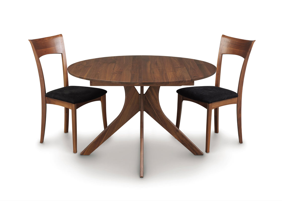 Audrey Round Extension Table In Walnut With Ingrid Side Chairs