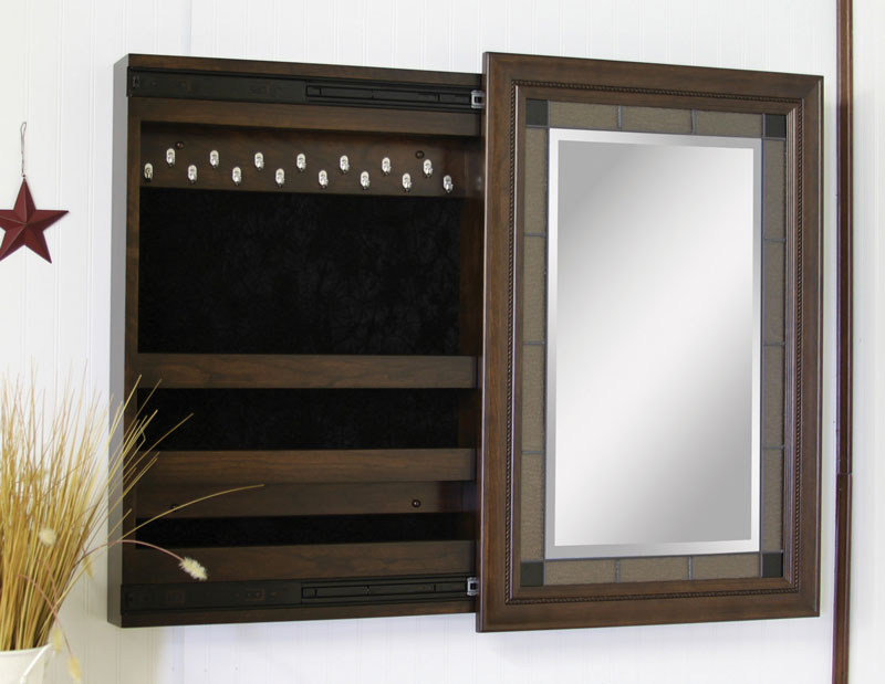 Compact Wall Mounted Jewelry Box With Sliding Mirror Ohio Hardwood