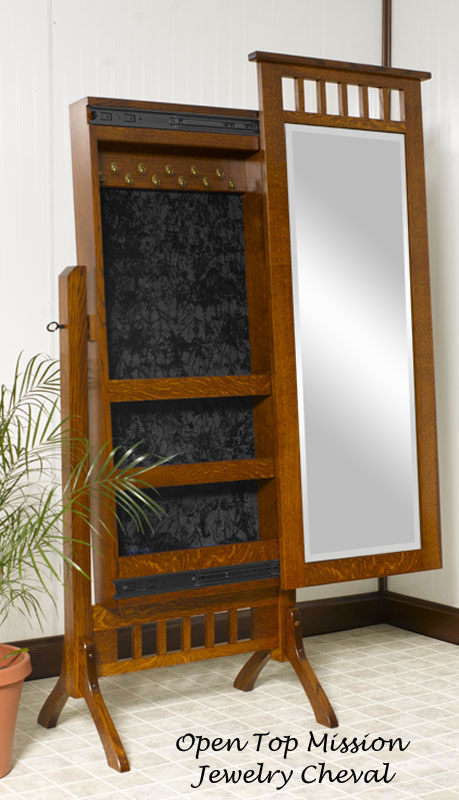 Sliding Mirror Jewelry Cheval Ohio Hardwood Furniture