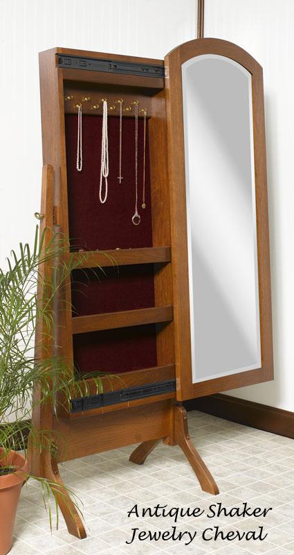Sliding Mirror Jewelry Cheval Ohio Hardwood Furniture