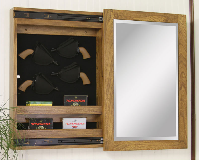 Wall Mount Sliding Mirror Gun Cabinets Ohio Hardword