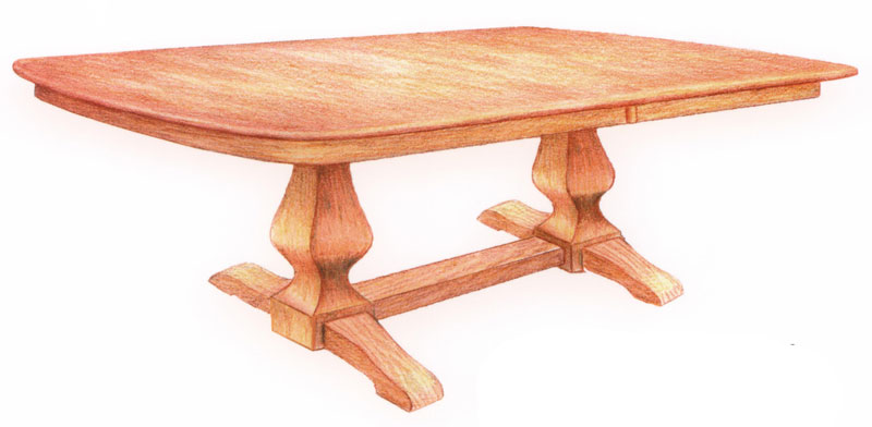 Ashley Double-Pedestal Table with 4 Feet