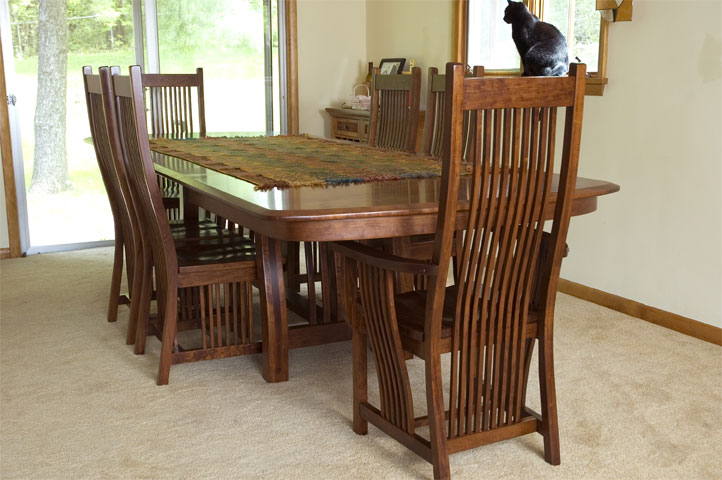Diamond mission table ohio hardword upholstered furniture diamond mission dining table with williamson bow end table top built in cherry with a michaels workwithnaturefo