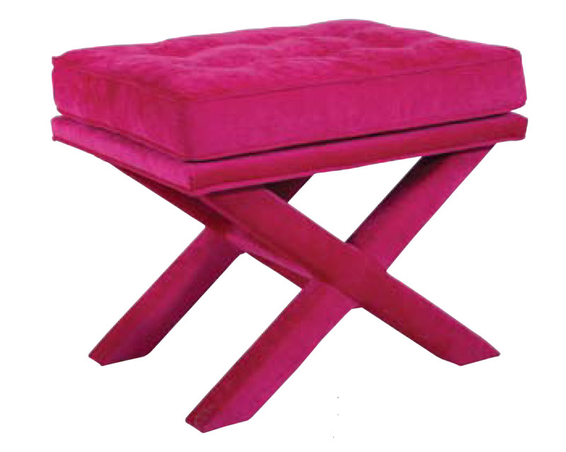 306 X-Bench Stool with Standard Semi-Attached Cushion and Buttons