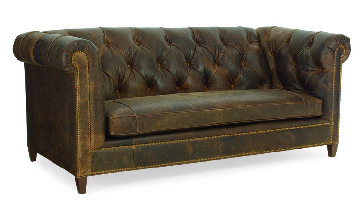 CR Laine L1800 Topeka Leather Sofa Shown In Arizona Rustic LL Leather With  A Walnut Finish