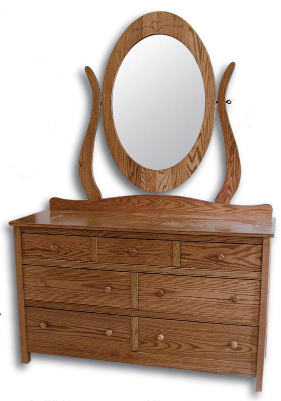 Country Mission Double Dresser with Round Wood Knobs, Backsplash and Oval Mirror (mirror and dresser sold separately)