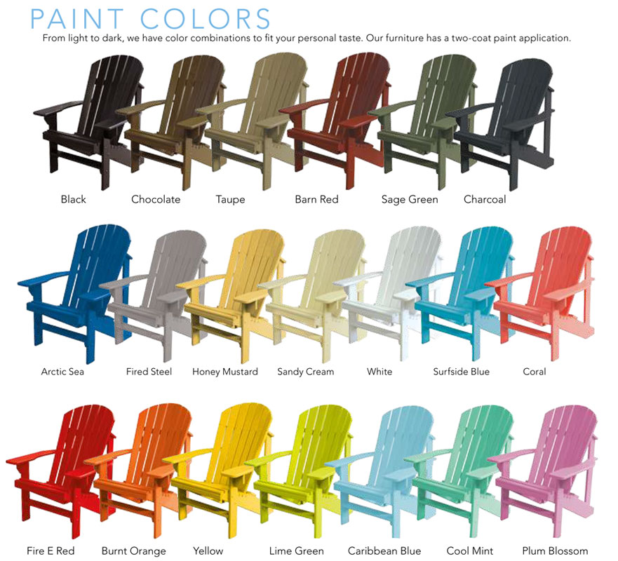 Genial Three Adirondack Chairs With Two Turkey Tail Connectors. Kid Friendly Paint  Colors