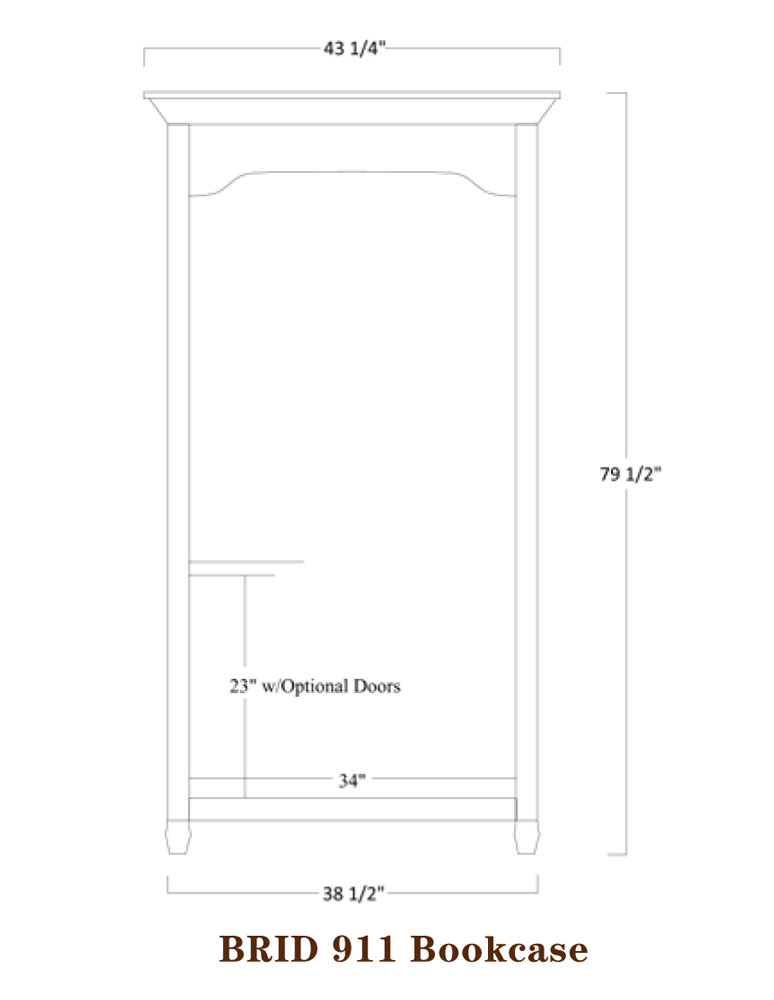 Bridgeport Series Bookcase Specifications