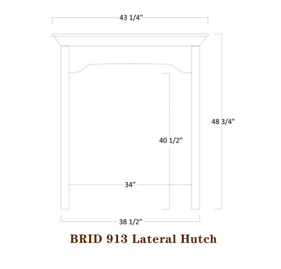 Bridgeport Series Lateral Bookshelf Hutch Specifications