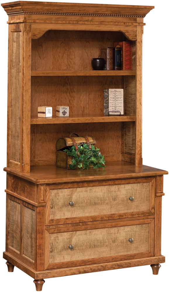 Bridgeport Series Lateral File and Bookshelf Hutch Shown in Cherry with Optional Tiger Maple Panel Stained in FC12093 Tea. (Tiger Maple cannot be stained different from the Case)  (Sold Separately)