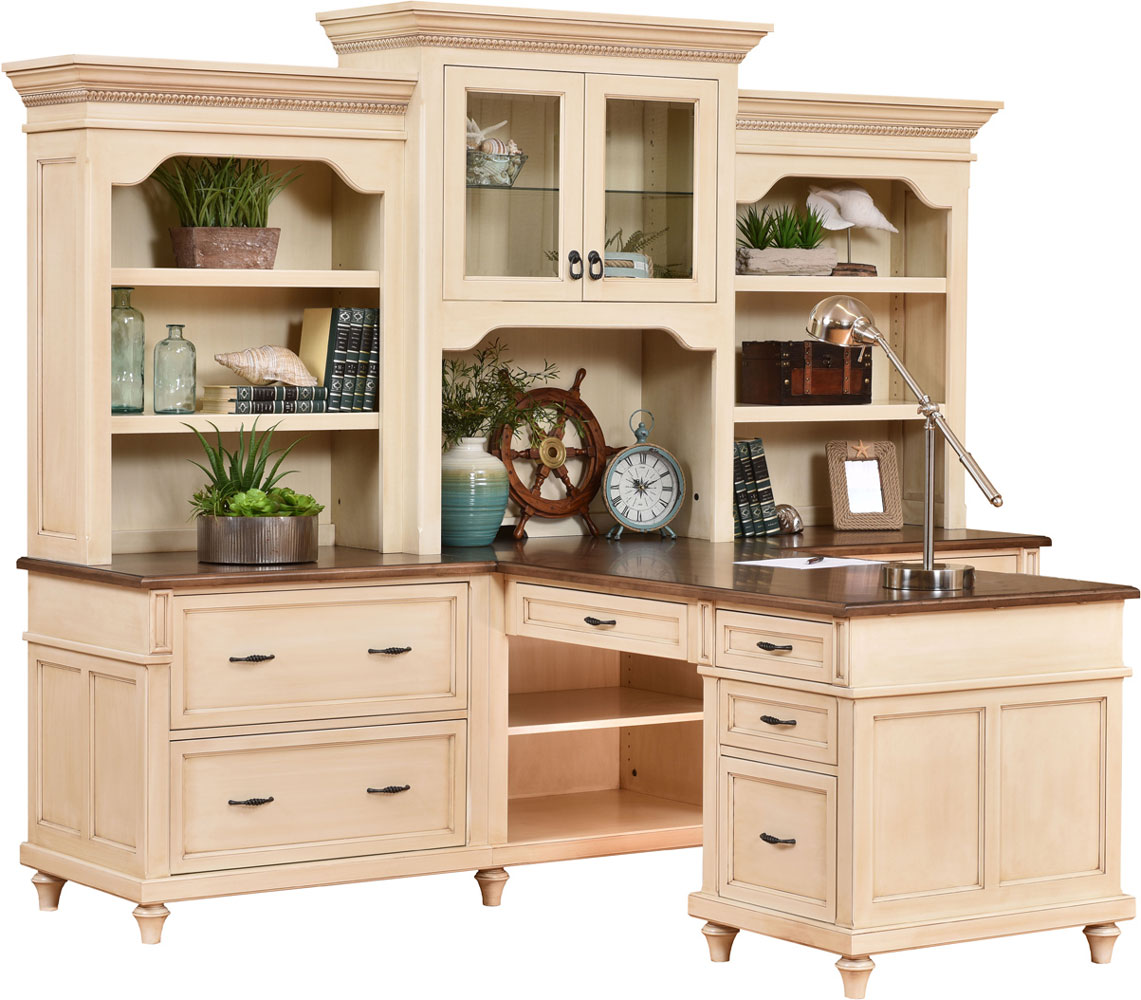 Bridgeport Series Partner's Desk and Three Piece Hutch