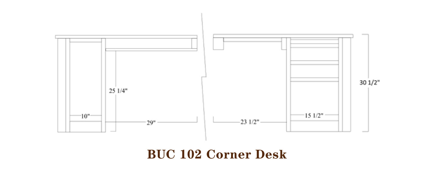 Buckingham Series Corner Desk Specifications
