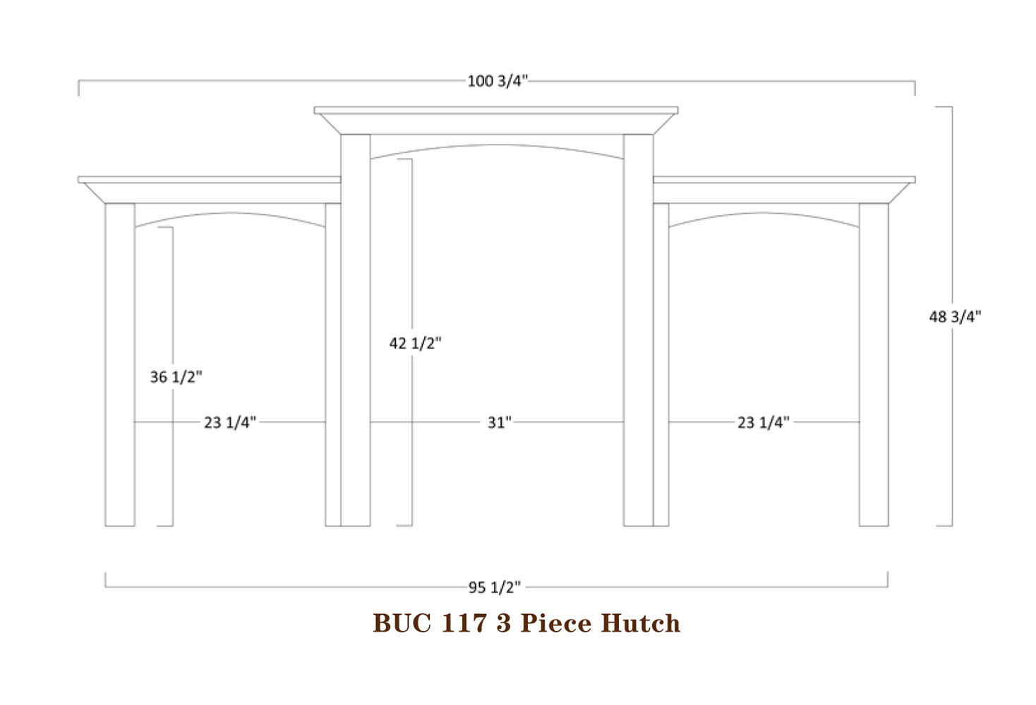 Buckingham Series Three Piece Hutch  Specifications