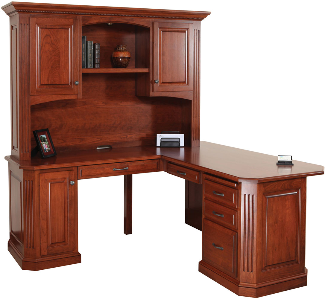 Buckingham Series Corner Desk and Hutch (Sold Separately)  shown in Cherry with OCS Washington Stain. Shown with Optional Rope Molding in Crown.