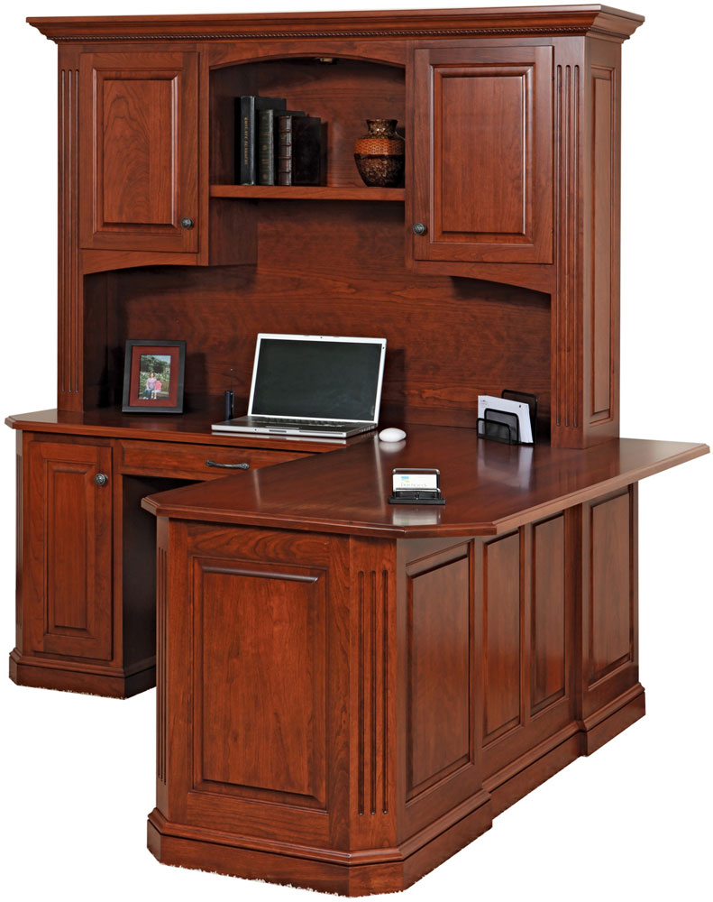 "Buckingham Series Corner Desk and Hutch shown with Raised Panel Back w/8"" Overhang"