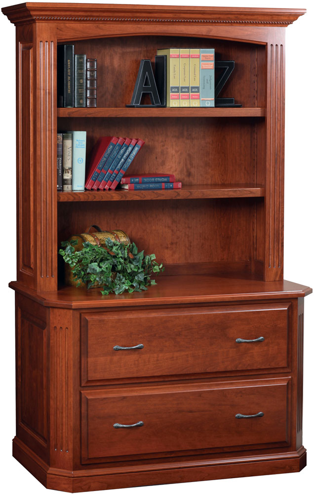 Buckingham Series Lateral File and Bookshelf Hutch (sold separately) shown in Cherry with OCS Washington Stain.