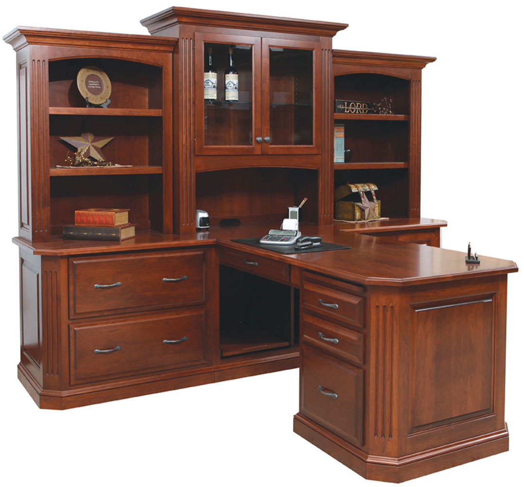 Buckingham Series Partner Desk and Three Piece Hutch (Sold Separately)  shown in Cherry with OCS Washington Stain. Shown with Optional Rope Molding in Crown.