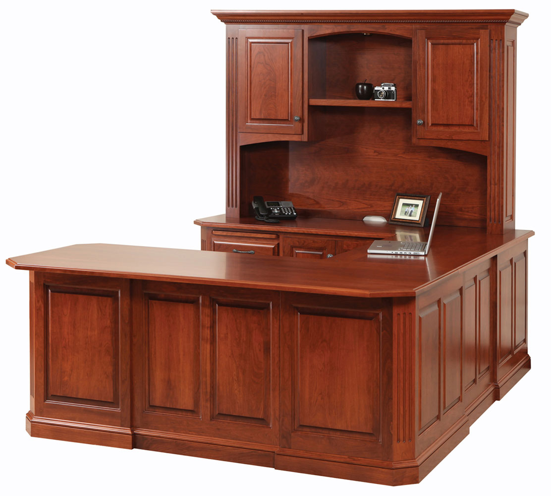 Buckingham Series U-Shape Desk and Hutch (Sold Separately)  shown in Cherry with OCS Washington Stain. Shown with Optional Rope Molding in Crown.