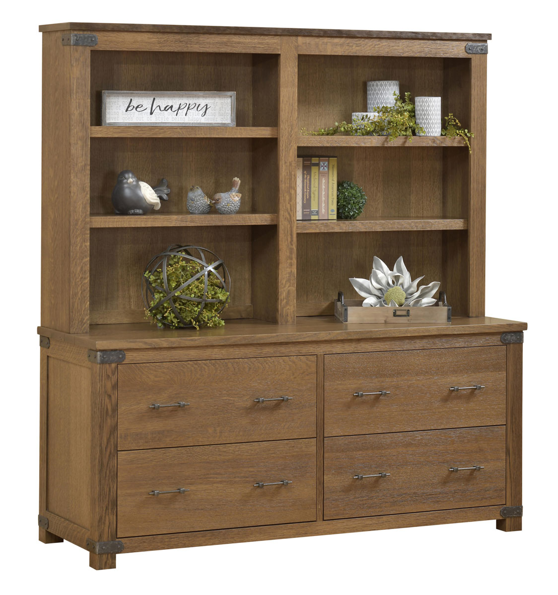 Georgetown Series Double Lateral File and Bookshelf Hutch