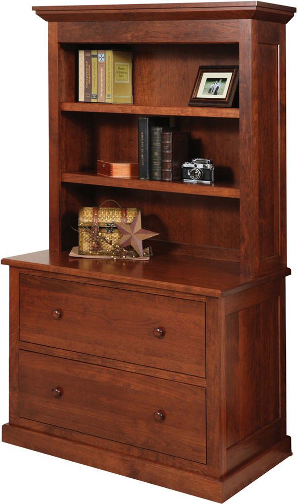 Homestead Series Lateral File And Bookshelf Hutch Sold Separately Shown In Cherry With OCS