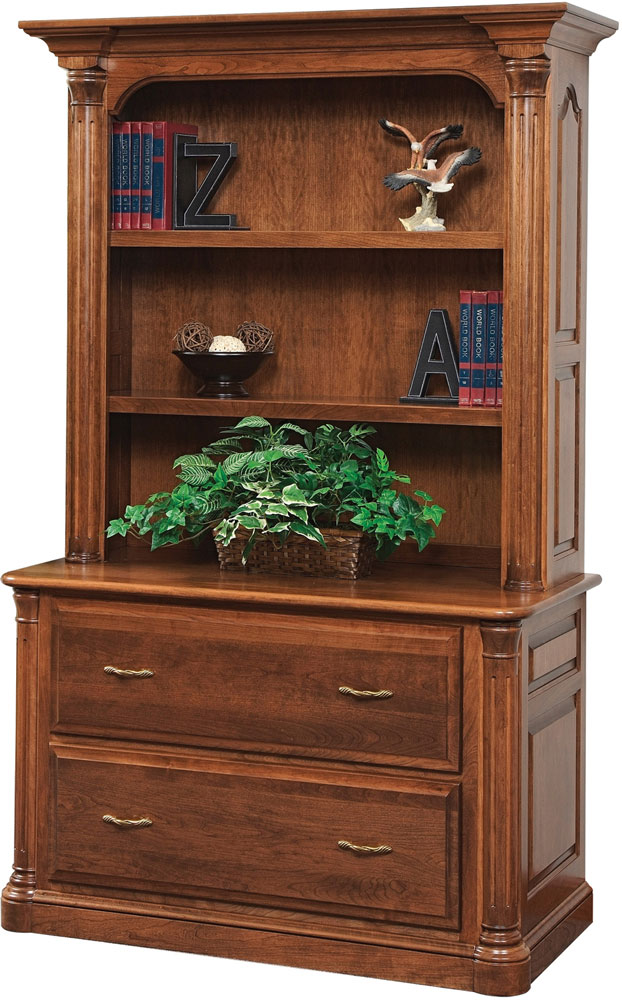 Jefferson Series Lateral File And Bookshelf Hutch Sold Separately Shown In Cherry With FC