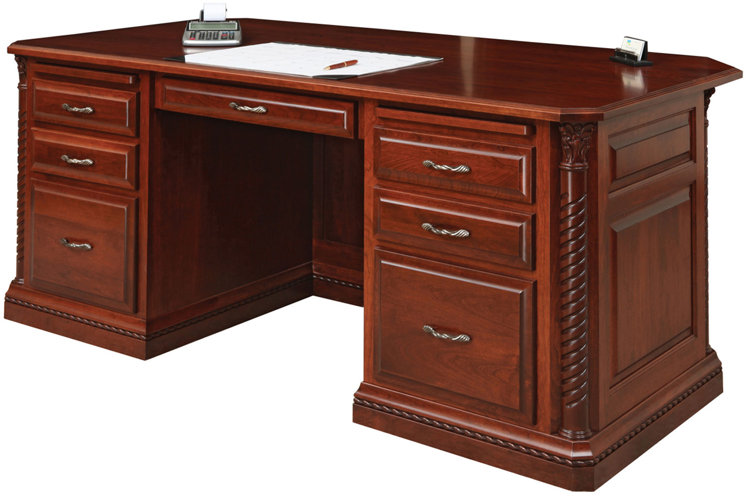 Charmant Lexington Series Executive Desk Shown In Cherry With OCS Acres Stain