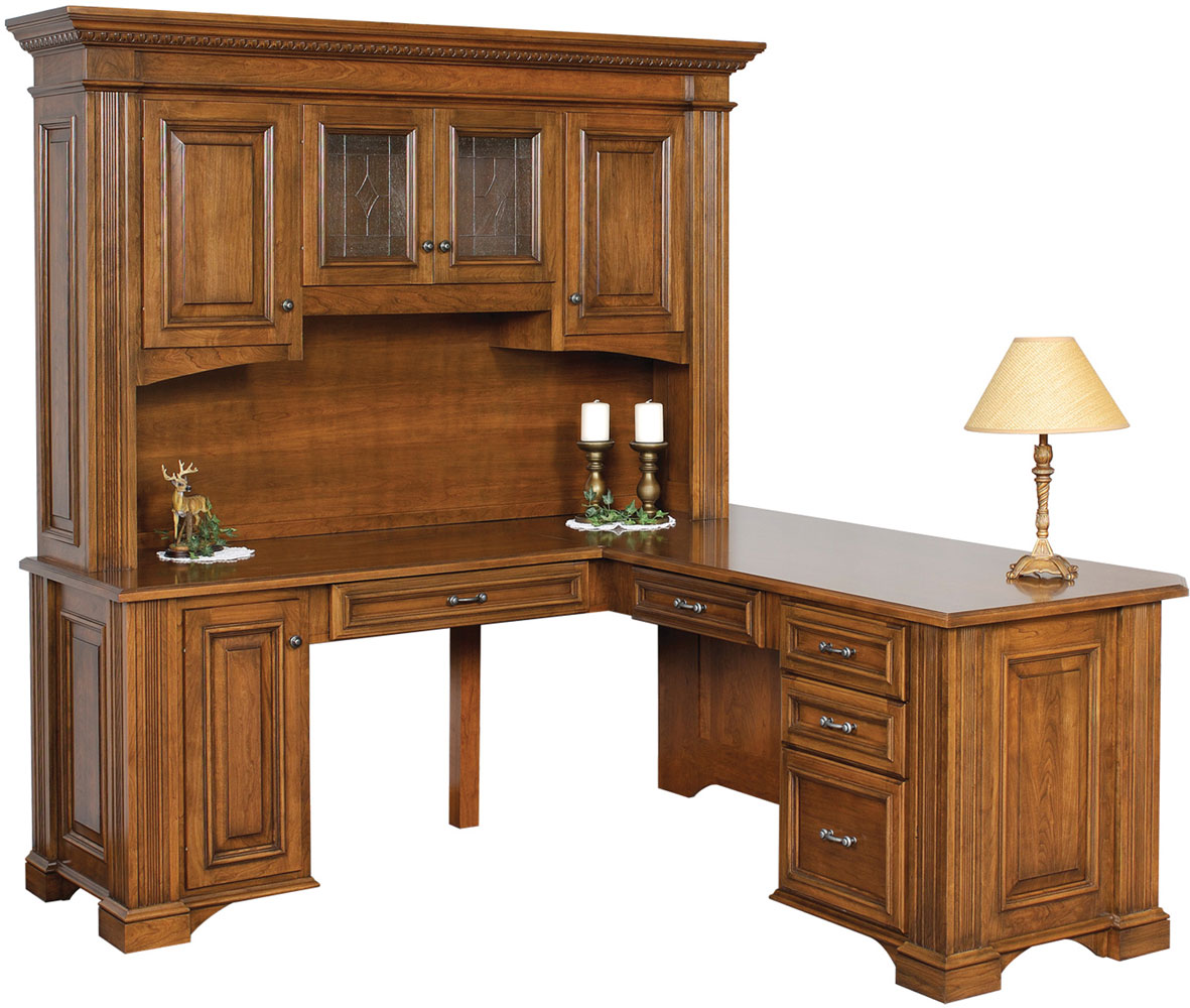 series corner desk. Lincoln Series Corner Desk And Hutch (Sold Separately) Shown In Brown Maple With Dutch