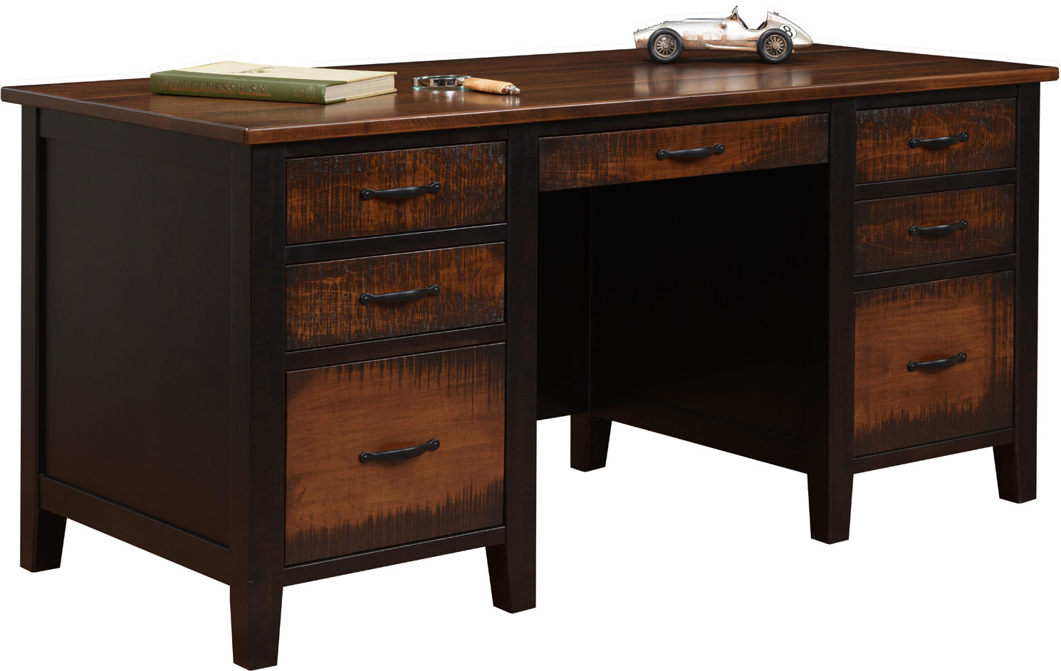 Manhattan Series Executive Desk Shown In Brown Maple With Fc 11047 Ebony Stain And Chocolate Tavern