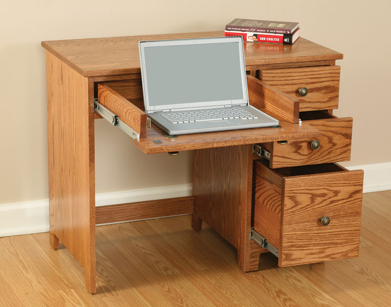 Economy 3 Drawer Laptop Computer Desk - Ohio Hardwood Furniture
