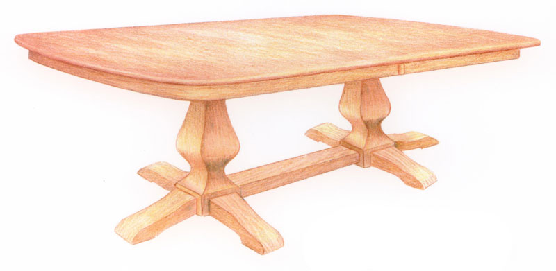 Ashley Double-Pedestal Table with 6 Feet