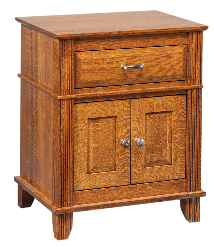 Arlington 1 Drawer, 2 Door Nightstand in Quartersawn White Oak with a Michael's Stain
