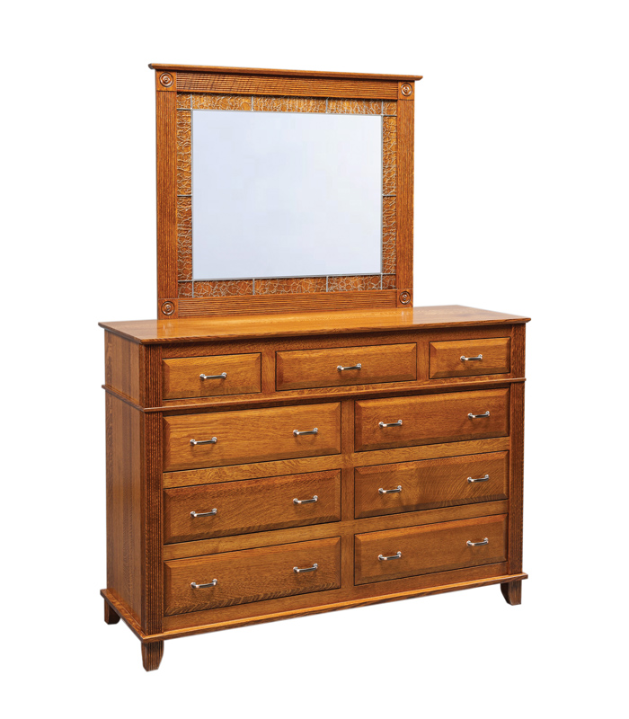 Arlington Dresser and Leaded Mirror in Quartersawn White Oak with a Michael's Stain (sold separately)