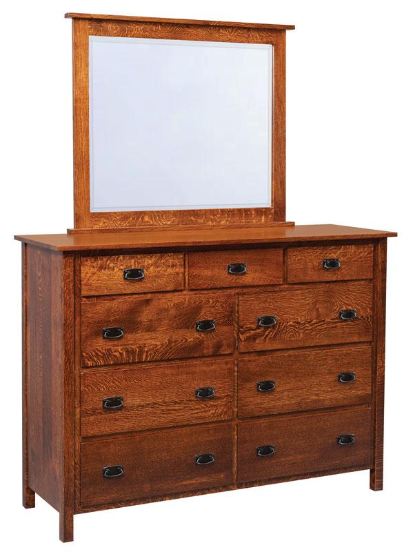 #608 Elkins High Dresser Shown With #613B Elkins Beveled Mirror (Sold  Separately)