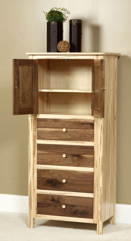 Lingerie Chest with Doors in Wormy Brown Maple and Character Walnut with a Natural Finish
