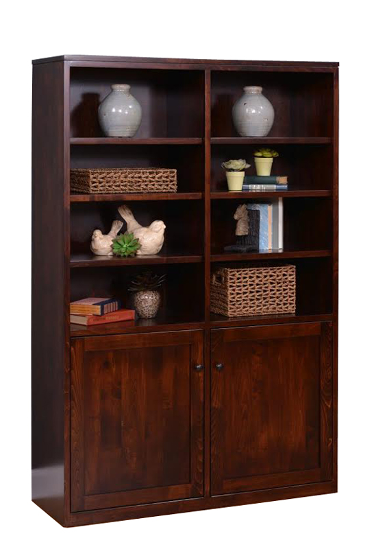 "48"" x 72"" Contemporary Bookcase with Optional Inset Mission Wood Doors with 53005-FB Knobs.  Shown in Brown Maple with OCS228 Rich Tobacco Stain."
