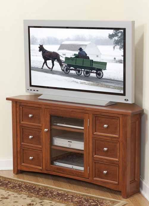 Garnet Hill Corner TV Stand (48-902-6D-DR) in Cherry with an OCS 107 Washington Cherry Stain