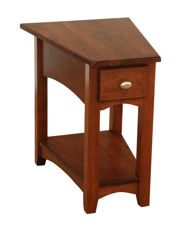 modern shaker wedge end table with 14 round rout