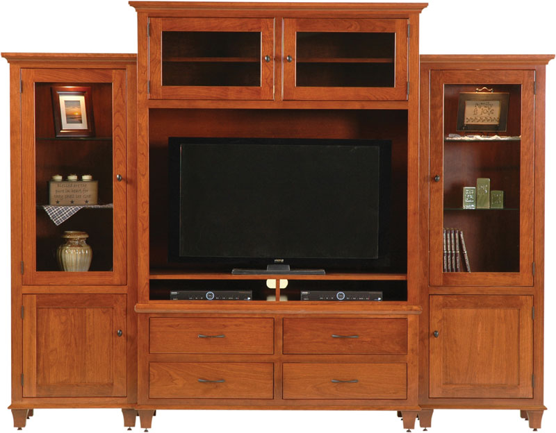 Bourten Magnum Wall Unit Entertainment Center In Cherry With An Ocs Washington