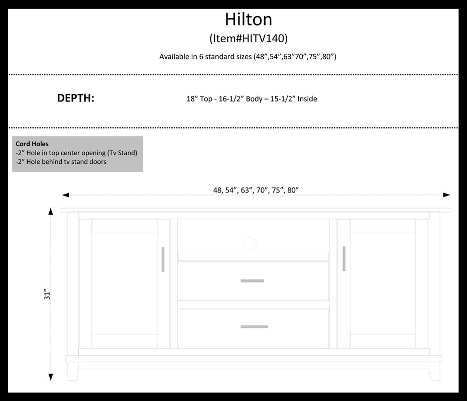 Hilton TV Stand Dimensions