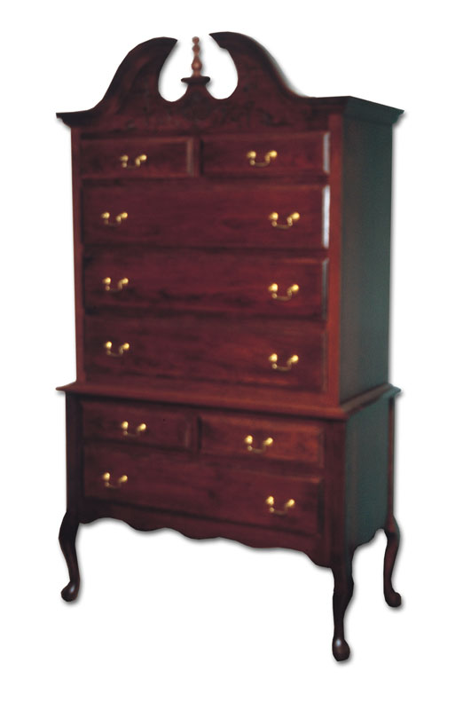 queen anne highboy ohio hardwood furniture