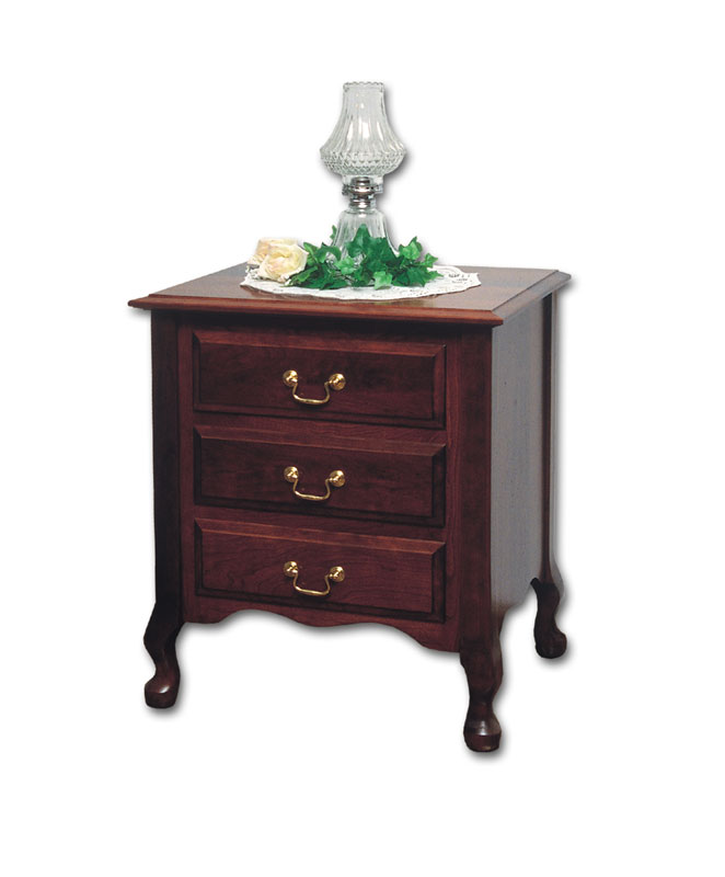 Queen Anne 3 Drawer Nightstand