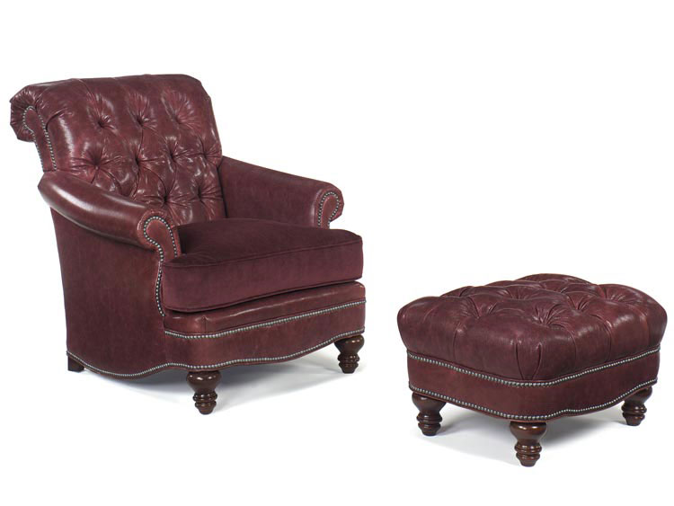 Leathercraft 2572-18 St. Thomas Chair and 2573-3 St. Thomas Ottoman