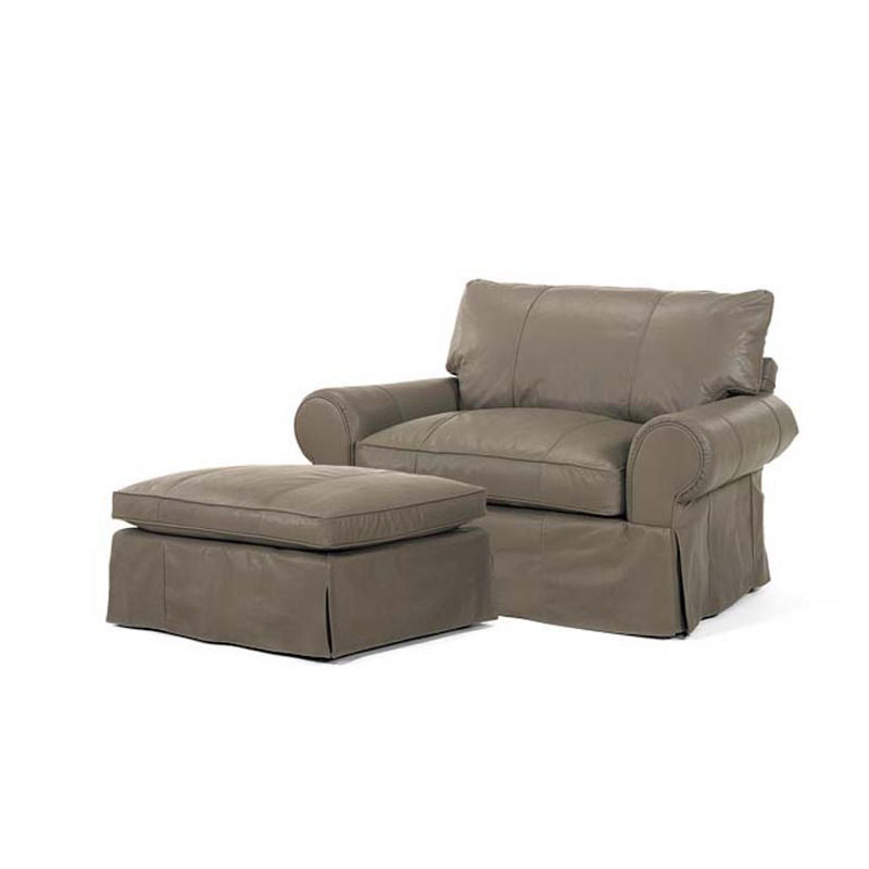 Leathercraft 3571 Louisa Chair & 1/2 and 3574 Louisa Large Ottoman