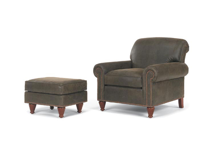 Leathercraft 903-02 Jamestown Chair and 903-03 Jamestown Ottoman
