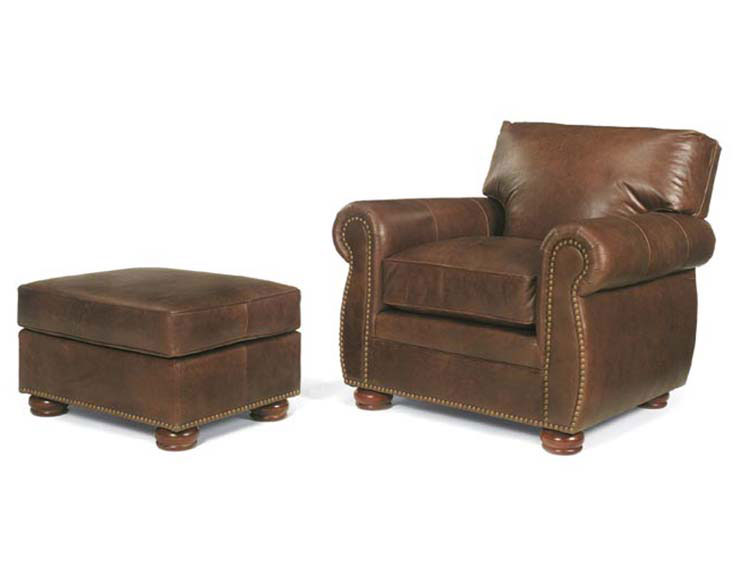 Leathercraft 929-02 Macon Chair and 929-03 Macon Ottoman
