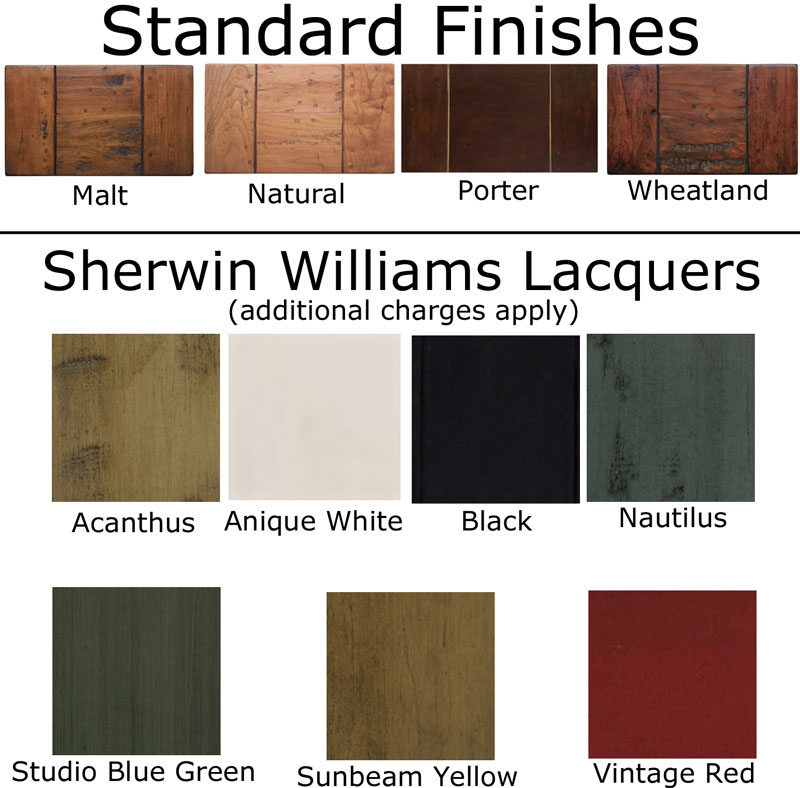 Standard Finishes and Sherwin Williams Lacquers