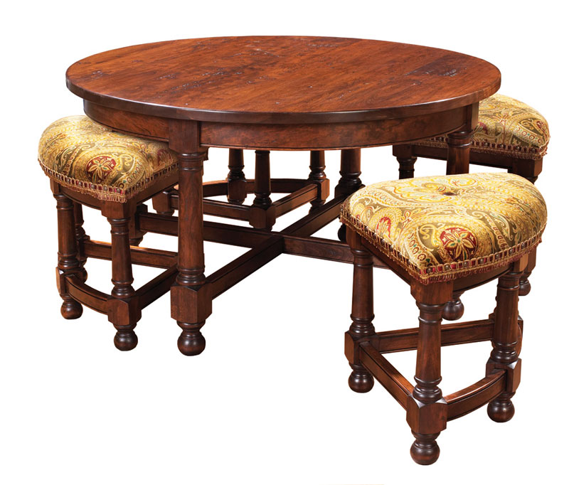 Mackenzie dow round cocktail table with nesting stools for Round cocktail table with stools