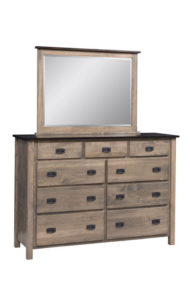 Dutch Country Mission 9 Drawer Dresser and Beveled Mirror